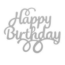 "Топпер для торта ""Happy Birthday"" с завитками, серебро"