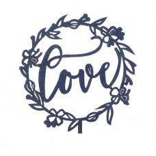 """Топпер для торта """"Love"""" в цветочном круге"""