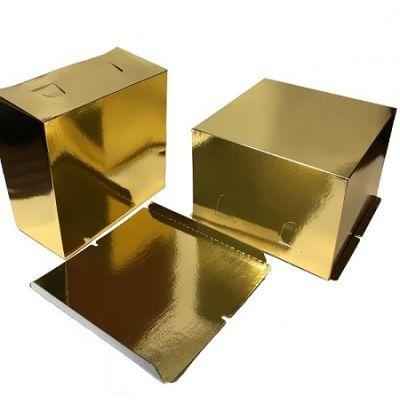 Коробка для торта 28*28*18, золотая